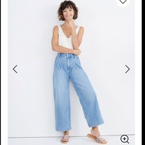 NEW Madewell pleated wide leg jeans